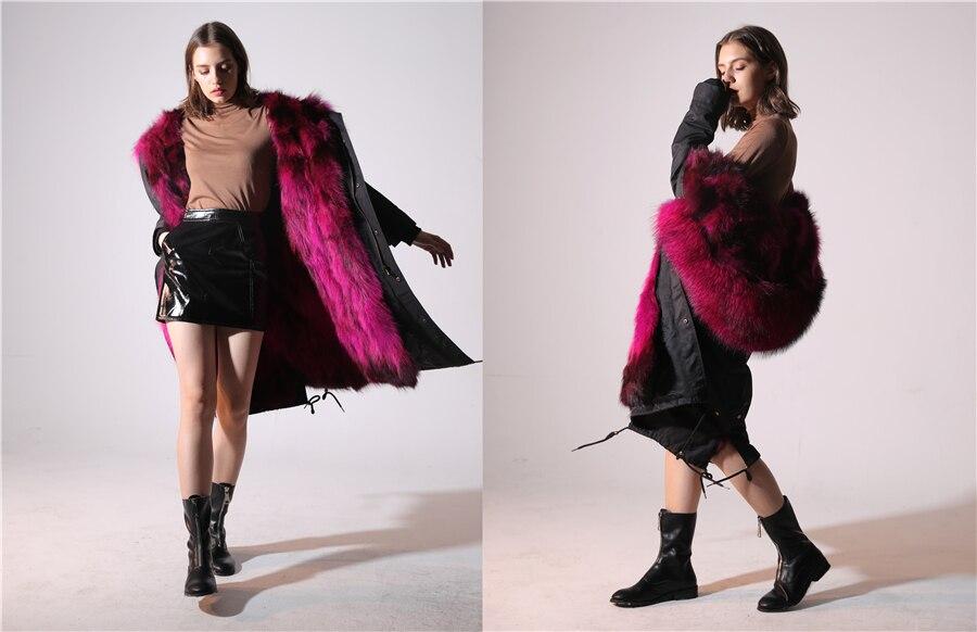2019 Real Fur Coat Winter Jacket Women Long Parka Waterproof Big Natural Raccoon Fur Collar Hood Thick Warm Real Fox Fur Liner 83