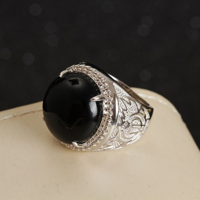 S925 Silver Natural Gemstone Ring Fine Jewelry For Men Hot