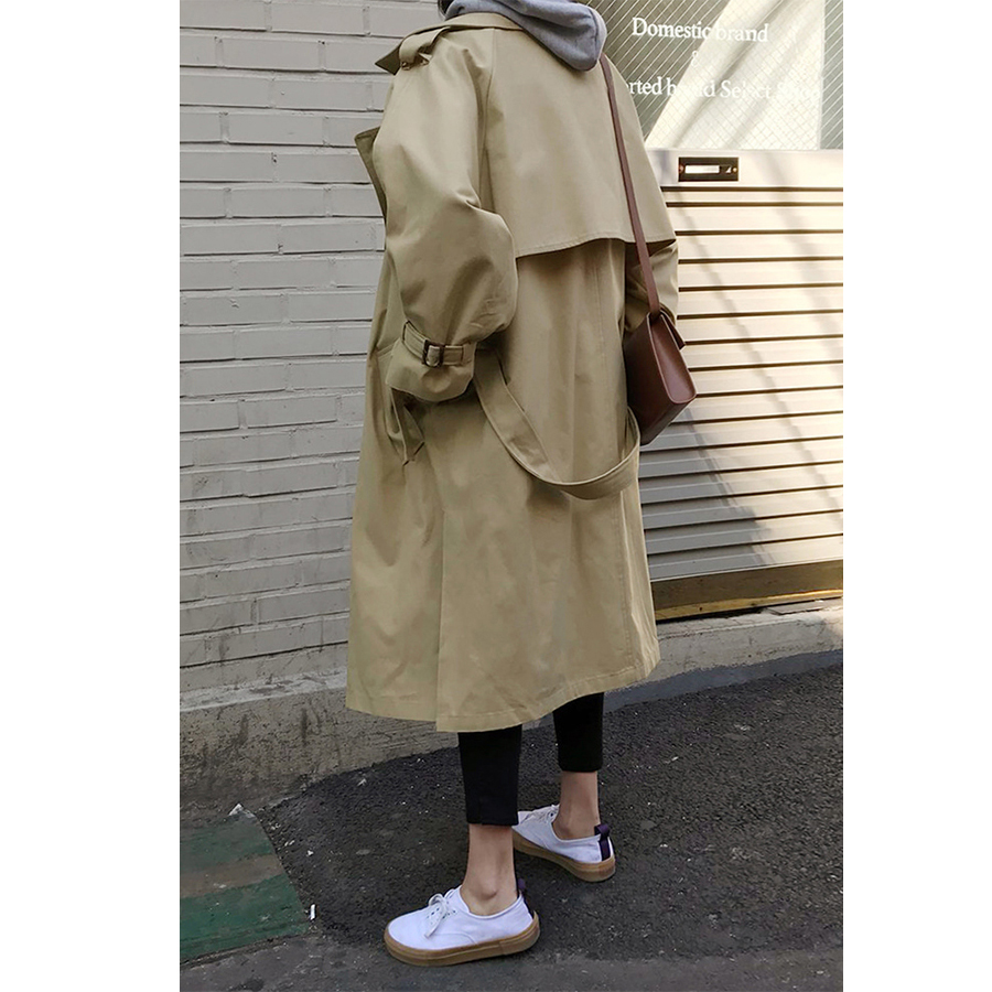 Spring Autumn New Women's Casual Trench Coat Oversize Double Breasted Vintage Outwear Sashes Chic Cloak Female Windbreaker 5