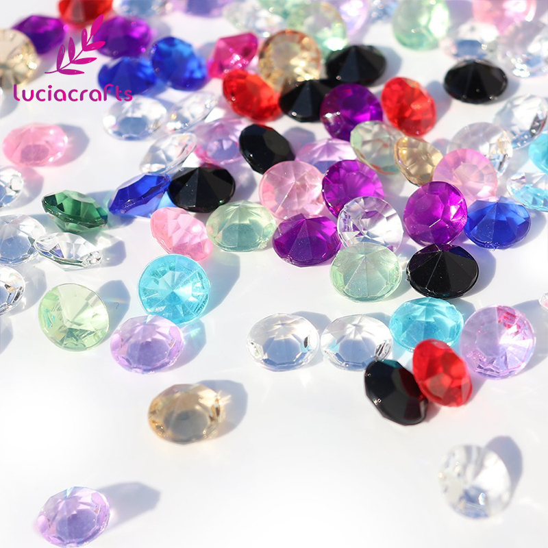 Lucia Craft 1000pcs 8mm Multi colors option Acrylic Gems Wedding Party Confetti Crystal Diamond Culet Faceted 16010824(8D1000)