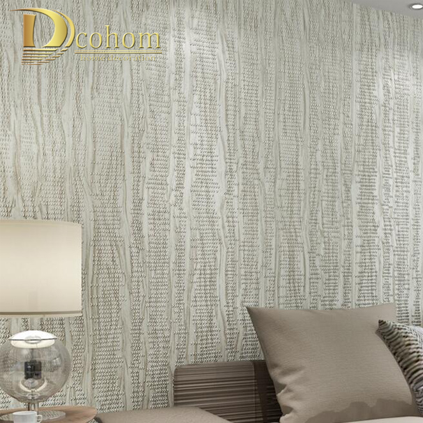 ФОТО Modern Solid Color Particle Embossed Wood Striped Wallpaper 3D Designs Luxury Bedroom Decor Beige Grey Brown Wall paper Rolls