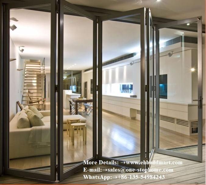 Porte pliante en aluminium sécurité sécurisée portes en verre accordéon robustes et isolées lowes pella, porte de patio extérieure insonorisée coulissante