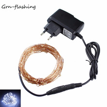 10m 100 LED Copper Wire String Light RGB Colors Christmas lights with Power Adapter holiday festival decoration lights string