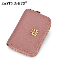 EASTNIGHTS 2017 Women Zipper Credit Card Holder Genuine Leather Wallet Business Card ID Holder Money Card