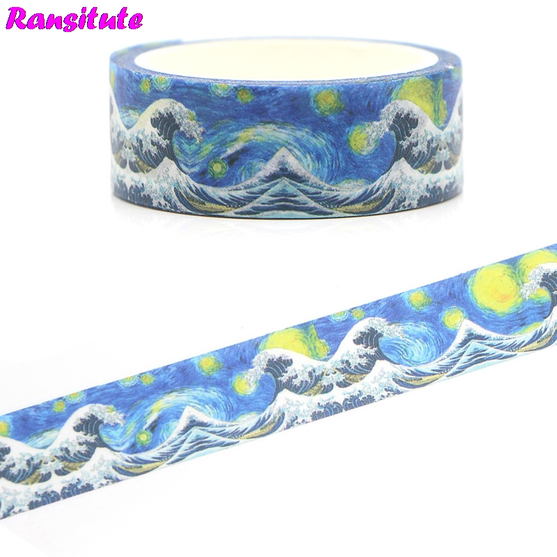 Ransitute R386 Kanagawa Surf Classic Washi Tape DIY Decorative Detachable Book Sticker Japanese Color Tape Paper