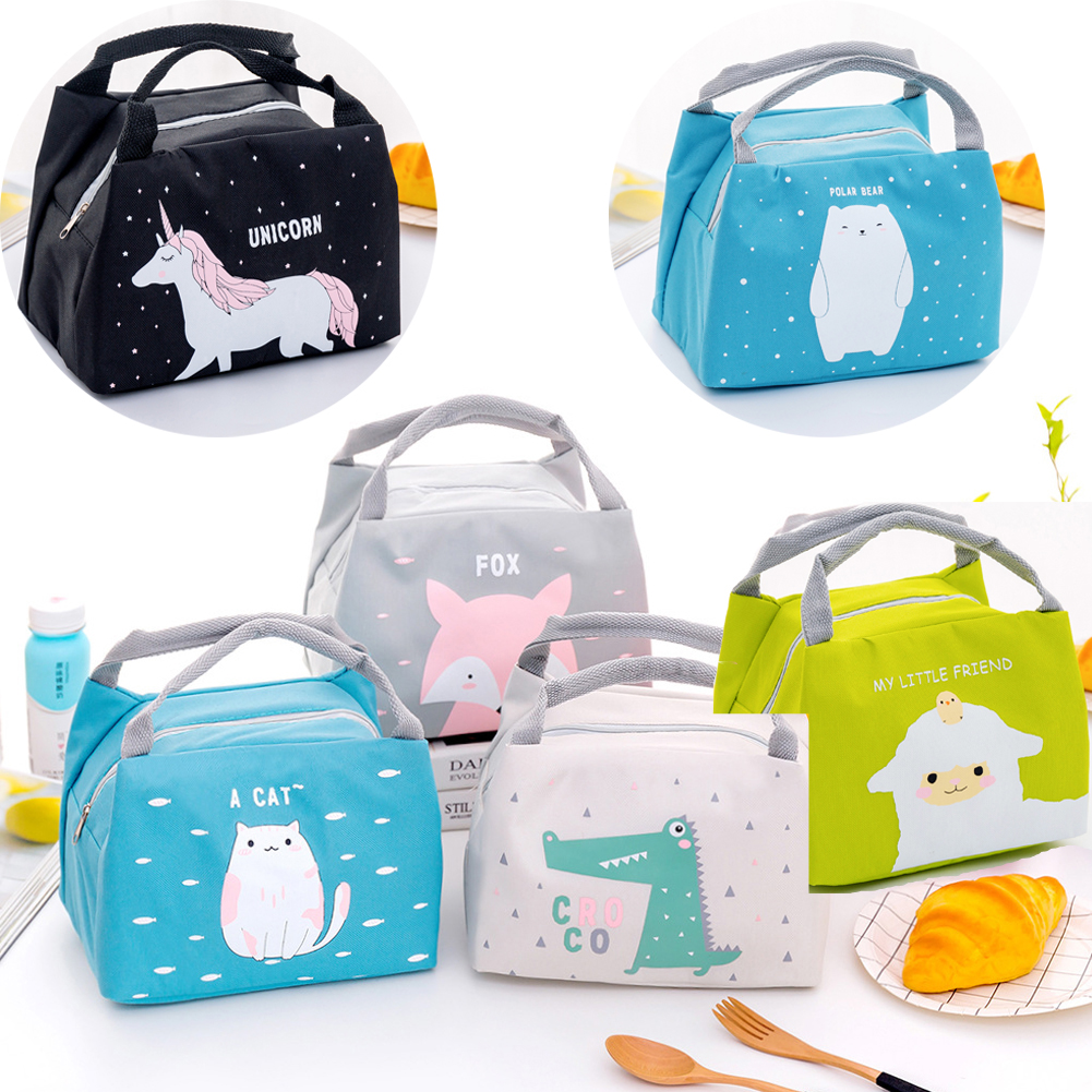Portable Insulated Lunch Bags Cute Animals Picnic Bags Canvas Thermal Food Tote Cool Bag School Fox Sheep Cat Gift  Adult Kids