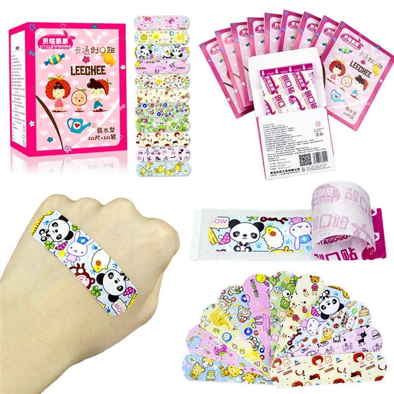 Image 3 - 100 pièces imperméable à leau respirant mignon bande dessinée adhésif Bandages pansement premiers soins autocollants pour enfants enfantsKits durgence   -