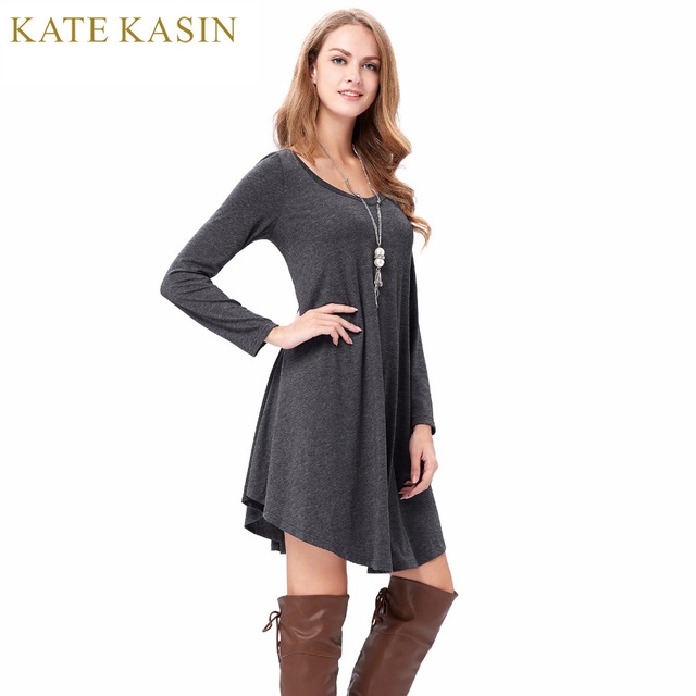 bfbc99d46938 Kate Kasin 2017 Summer Spring Dress Women Casual A-line Pleated Dresses Long  Sleeve Tunic Robe Femme Office Business