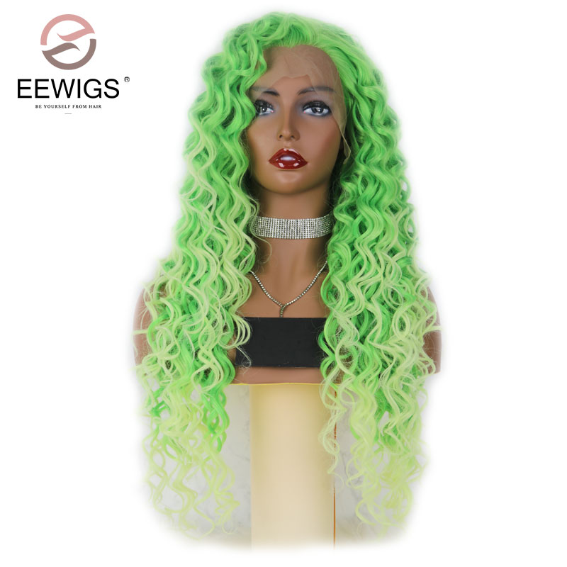 EEWIGS Long Curly Ombre Red Wigs Synthetic Lace Front Wig Long Curly Dark Red Wigs Natural Hair Frontal Free Parting For Women