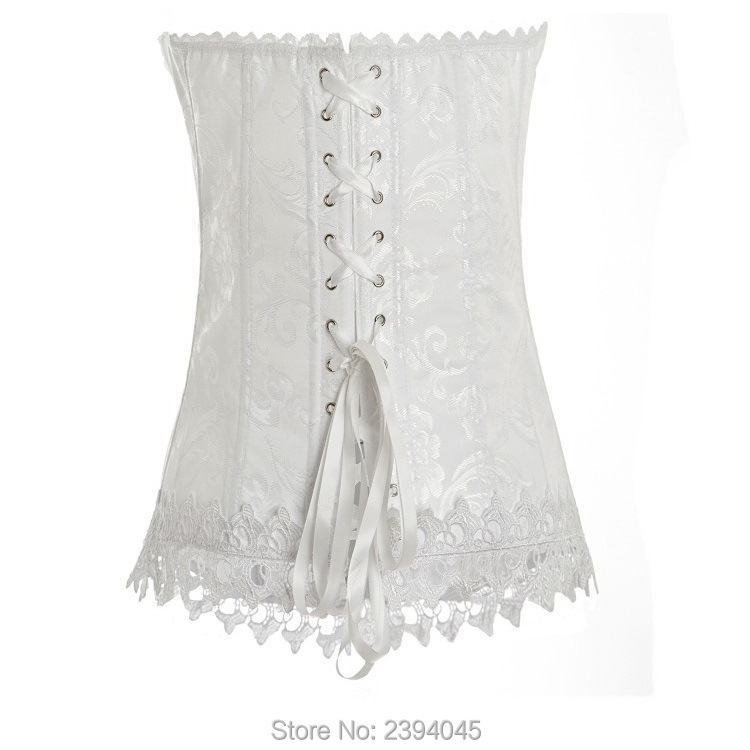 d174ddcfc32a overbust White Corsets and Bustiers Open Floral Lace White Corset Bustier  Tops Gothic CorpetesSexy For Women