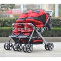 Hot-selling twins stroller,double stroller,super suspension twins stroller carrier pram buggy jogger handcart, fastshipping