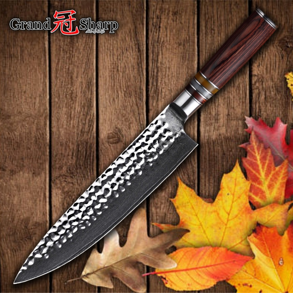 Damascus Chef Knife Japanese Damascus vg10 Kitchen Knives Stainless Steel Cooking Tools Hammered Blade Japanese Chef