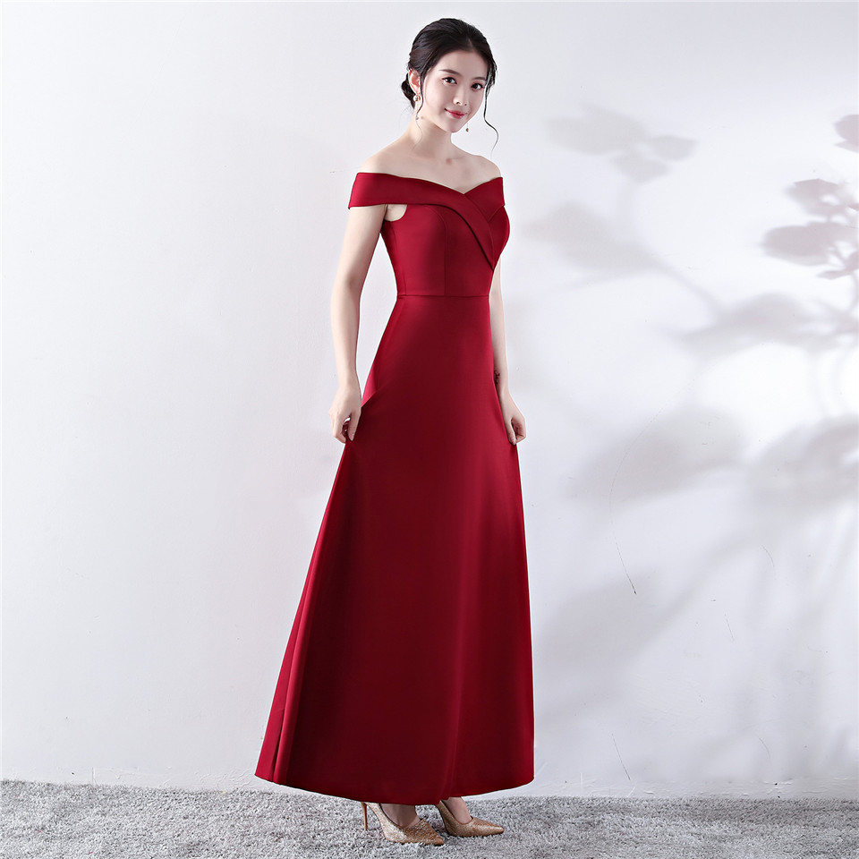 It's Yiiya evening dress Boat neck Ankle-length A-line Party gown Backless Short sleeve Zipper back sexy satin Prom dresses C145