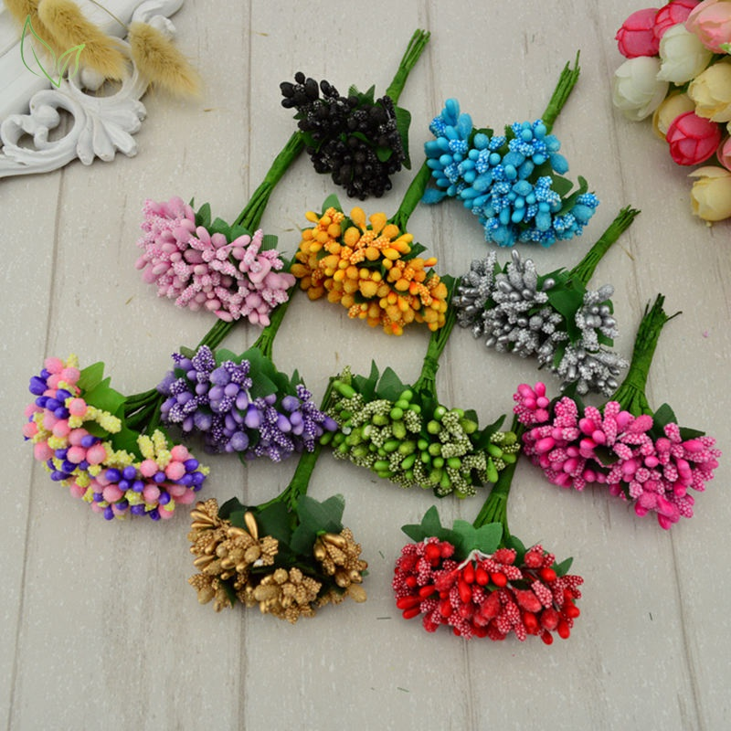 12 pcs stamen sugar handmade artificial flowers Cheap wedding decoration diy wreath needlework Gift box scrapbooking fake flower(China)