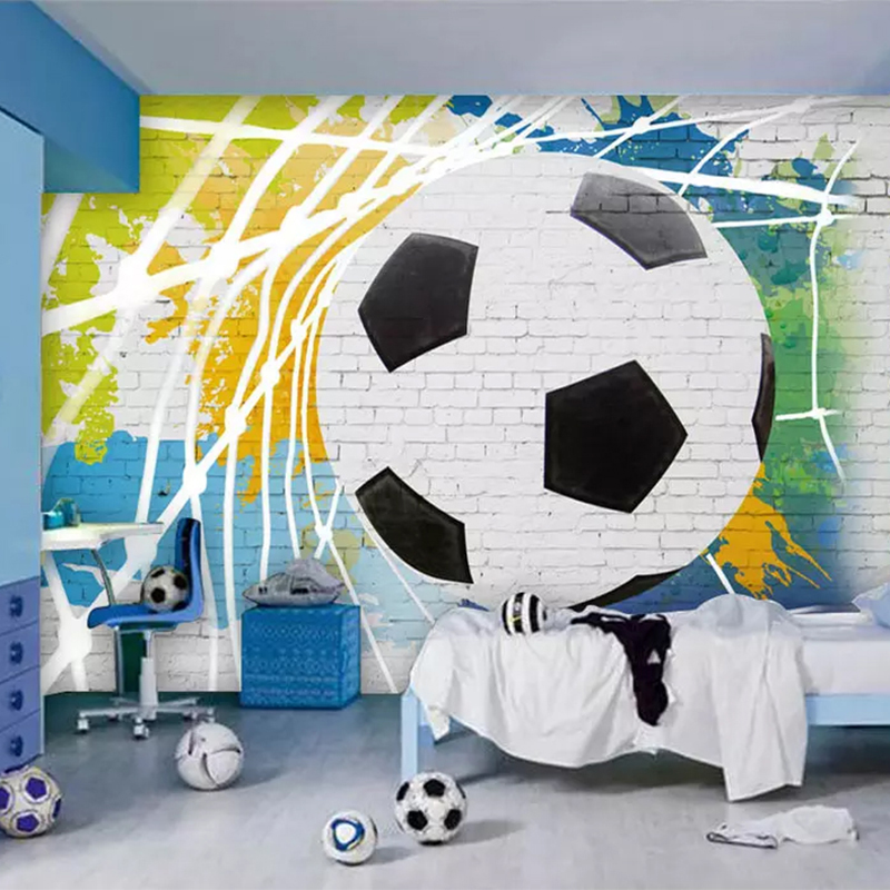 Custom Mural Wallpaper 3D Cartoon Soccer Photo Wall Painting Boy's Bedroom Restaurant Cafe Background Wall Papers Drop Shipping