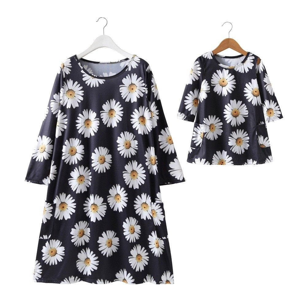 Dress Outfits Sunflower-Dresses Matching Girls Daughter Fashion Family