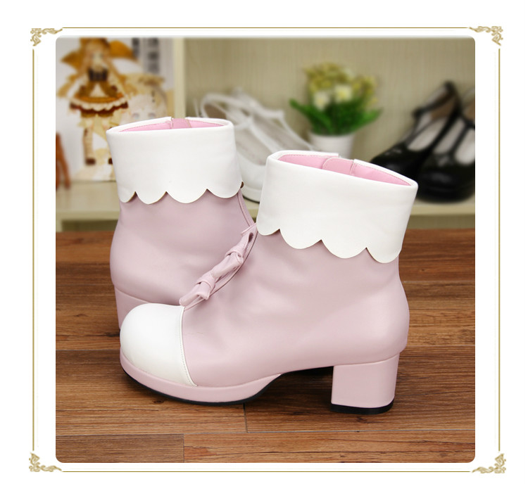 Princess sweet lolita shoes Japanese winter with velvet dual purpose cos comic extra high heels custom short boots pu8595 princess sweet lolita parkas in the winter of new women s original japanese sweet fox fur collar long sleeved coat c22cd7219