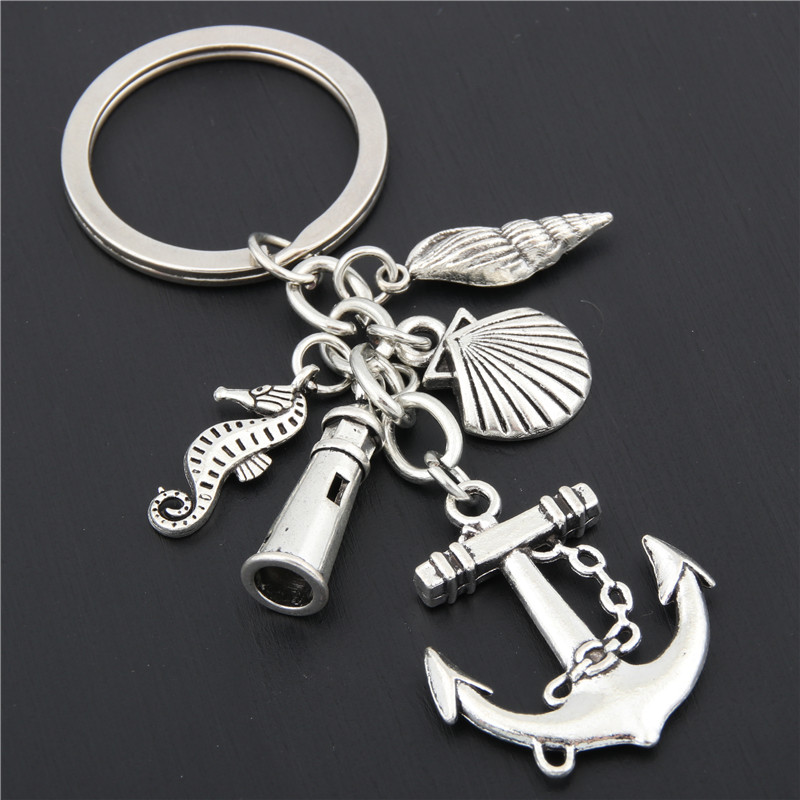1pc Beach Keychain Fish Anchor Lighthouse Seashell Seahorse Charms Keyring Jewelry Summer Gift E1641