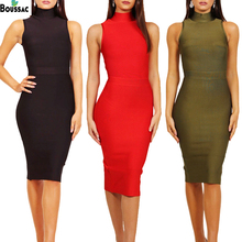 BOUSSAC Women Bandage Sexy Dress Vestidos 2019 Elegant Sleeveless Party Bodycon Club Wear Basic