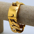 Hiphop punk golden bracelets High Quality 24K Gold plated 21cm long cuban Link chunky bangles pulseras bijouterie men jewelry