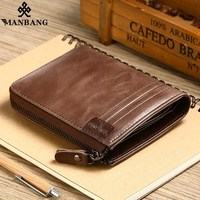 ManBang 2018 New Genuine Leather Men Wallet Small Vintage Zipper Hasp Male Short Men Wallets Coin