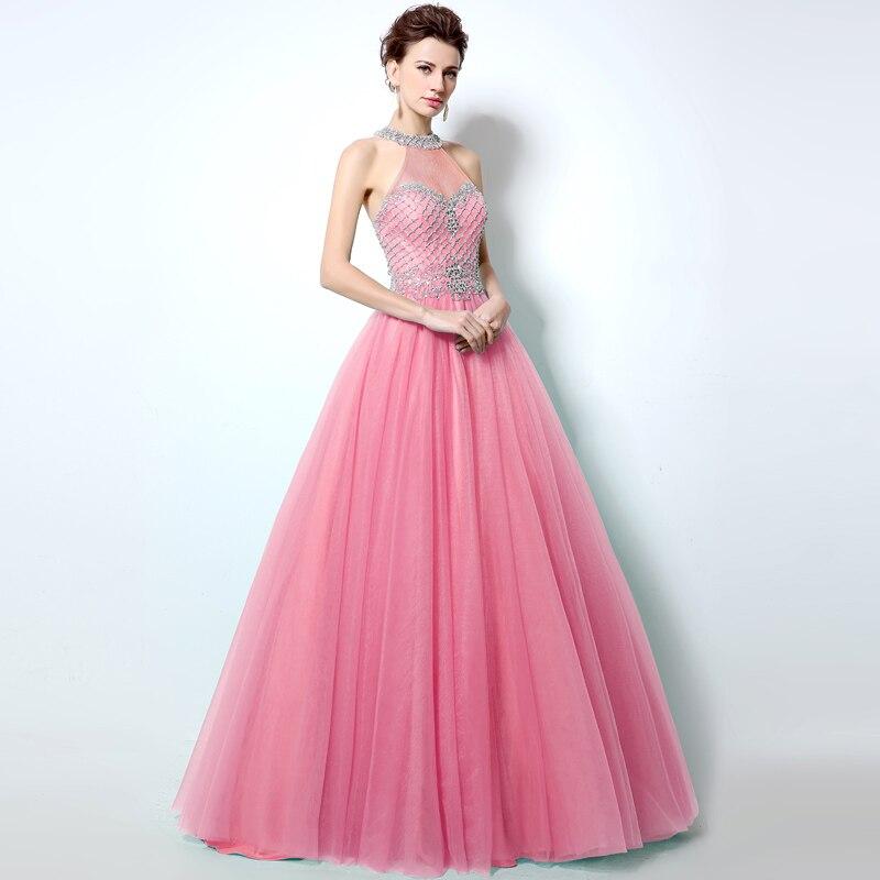 Sexy Sheer High Neck Prom Dresses Cut Back Rhinestones Crystal ...
