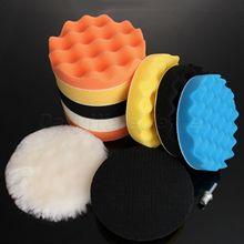 4/5/6/7 11Pcs Waffle Buffer Polishing Pad Set For Car Polisher M10 M14 Auto Cleaning Detailing Vehicle Wash Polish Sponge Wheel