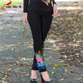 China Wind Folk Style Pants 2016 Fashion Embroidered Leggings Pants Stretch Jeans Elastic Skinny Trousers Plus Size Black White