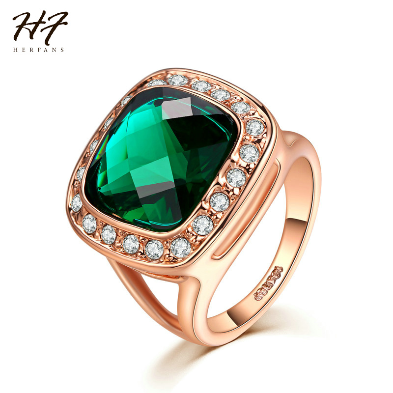 2017 New Luxury Big Square Green Cubic Zirconia Ring Rose Gold Color Rings Fashion Jewelry for Women Full Size Wholesale R348
