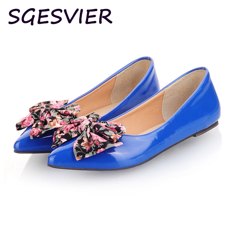 SGESVIER High quality Large Size 30-50 Ballet Flats Big Sweet Printing Bow Knot Boat Shoes Pointed Toe Candy Colors Flats XT61 new 2017 spring summer women shoes pointed toe high quality brand fashion womens flats ladies plus size 41 sweet flock t179