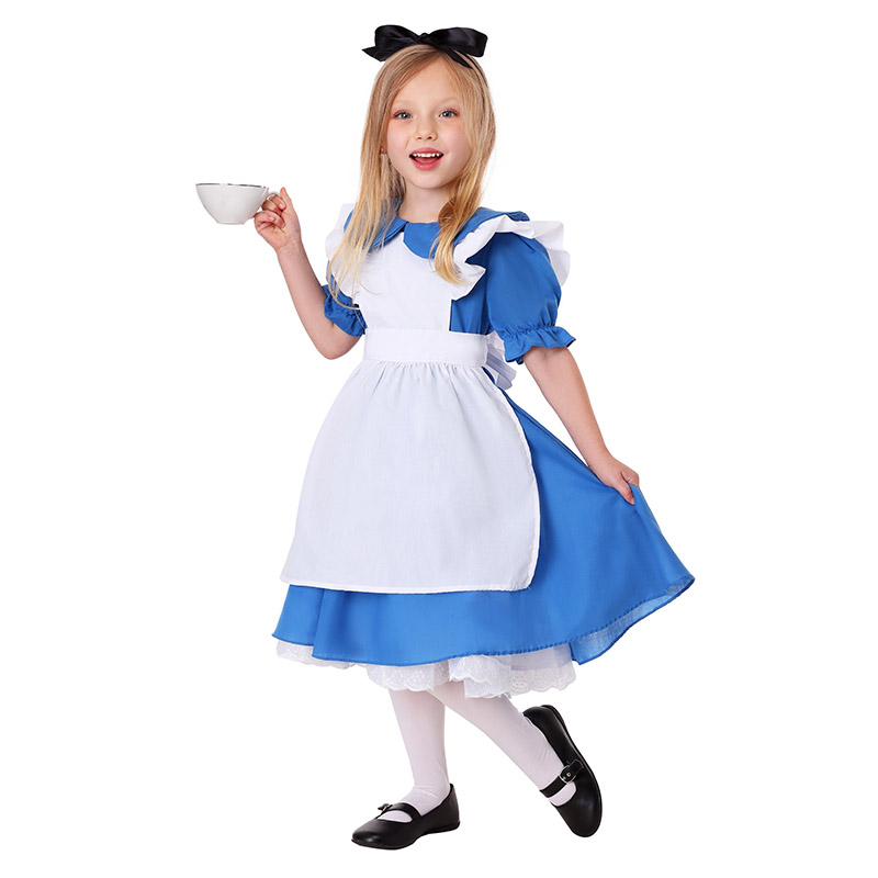 Girl Alice In Wonderland Party Alice Maid Costume Cosplay Kids Children Holiday Fantasia Maid Role Play Uniform Suit