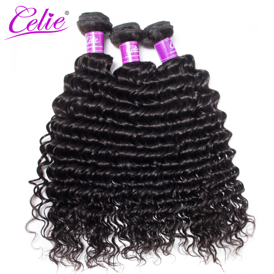 Celie Hair 10 28 Inch Brazilian Hair Weave Bundles Deal Brazilian Deep Wave 3 Bundles 100