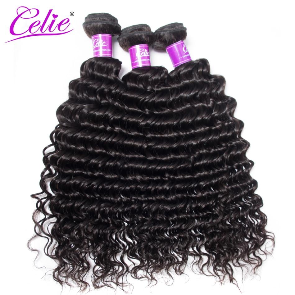 Celie Hair 10-28 Inch Brazilian Hair Weave Bundles Deal Brazilian Deep Wave 3 Bundles 100% Remy Human Hair Bundles