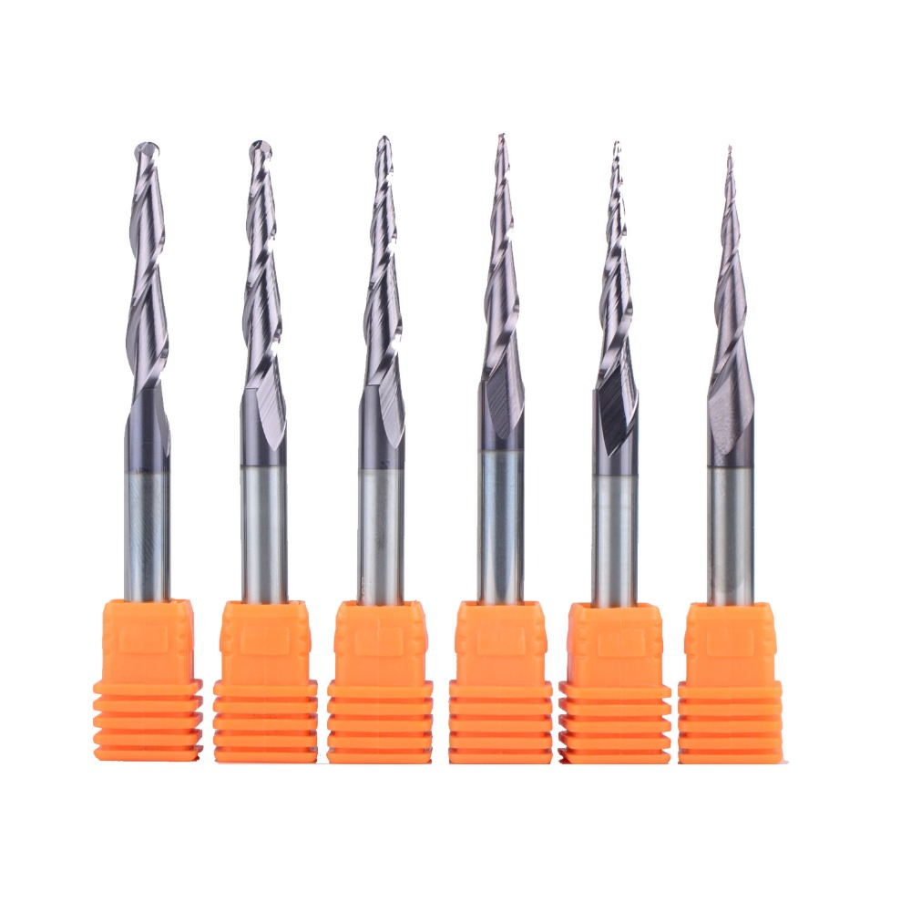 1 stücke wolfram hartmetall Beschichtete Kegel Ball Nase CNC fräser router bits für holz und schneider für metall ende mühle