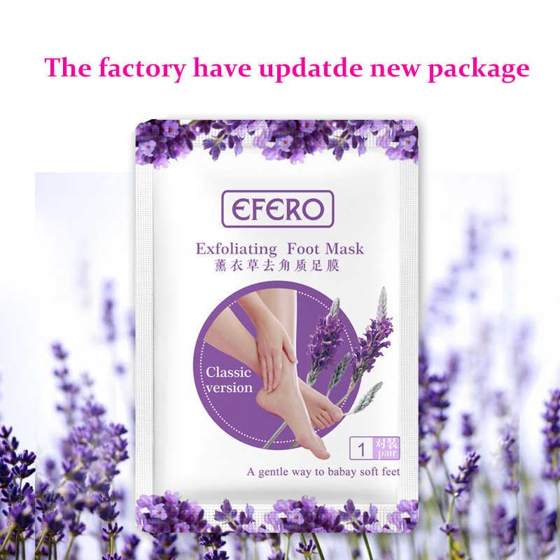 Efero 2pc = 1 par pés esfoliante pé máscara cuidados com a pele peeling pele morta pés máscara pedicure meias pé creme para saltos tslm1