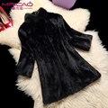 Подлинная норки пальто женщин настоящее природный длинные верхняя одежда пальто стоять воротник мех зимняя куртка настроить большой размер одежды