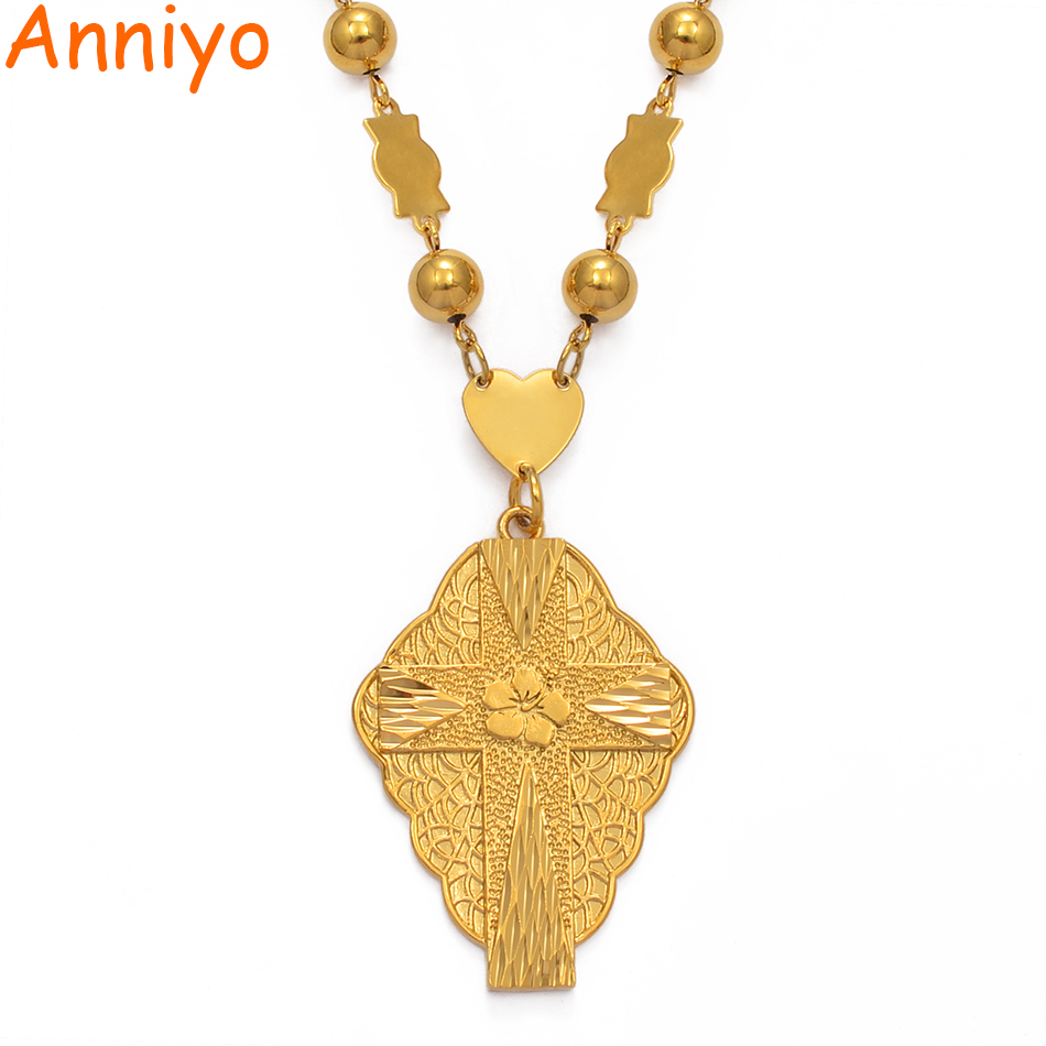 Anniyo Flower Cross Pendant Necklaces for Women Men Guam Micronesia Chuuk Pohnpei Hawaii Flowers Jewelry Gifts #211706(China)