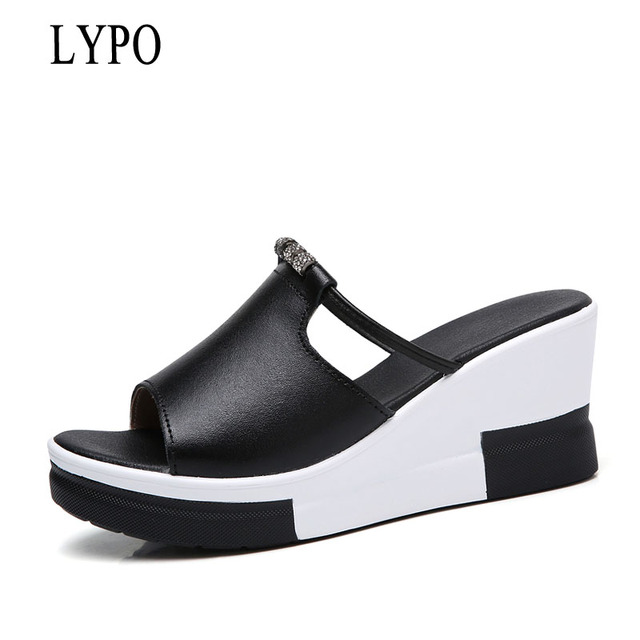 5a22e8adc458 LYPO Women Sandals Sandals Heels Wedges Platform Leather Open toe Crystal Elegant  Sandals Ladies Mules clogs Summer shoes