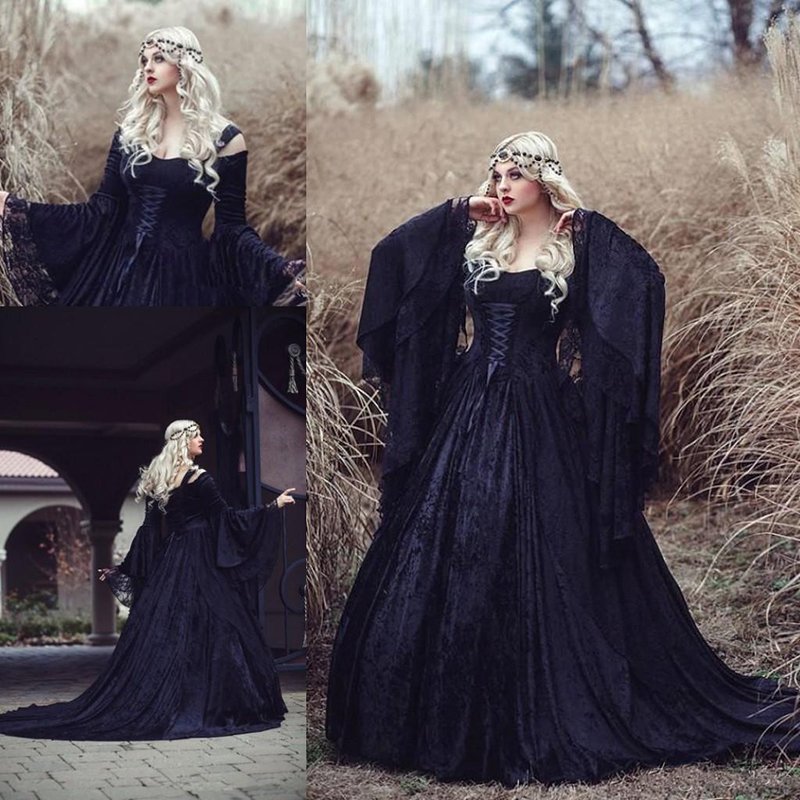 Discount Vintage Lace Gothic Plus Size Wedding Dresses: Vintage Gothic Hallowen Lace Princess Wedding Dresses 2019