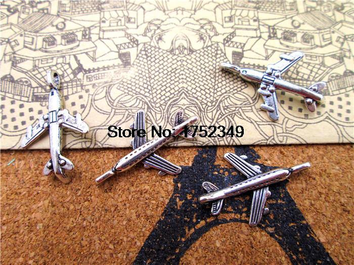 120pcs- Airplane Charms, Antique Tibetan silver Mini Aircraft plane charm pendants 22x15mm image
