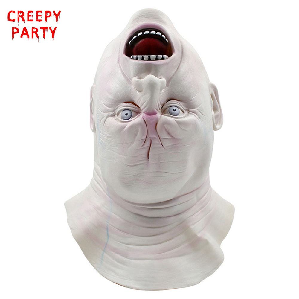 Terrorble Halloween Upside Down Ghost Mask Creepy Grimace Latex Mask Realistic Full Head Masquerade Party Mask Cosplay Costume