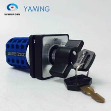 Yaming electric YMW26-20/4 20A 4 poles 3 position 110V-OFF-220V with a key Universal changeover rotary knob cam switch