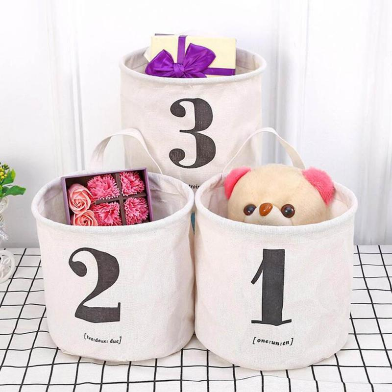 Numbers Cloth Collection Basket Cotton Linen Printing Storage Basket Bags Home Storage Toy Pouch Laundry Organizer V25