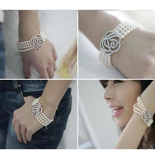 Gelang Baru Fashion Perhiasan Empat Lapisan Mutiara Perak Penuh Berlian Imitasi Rose Flower Gelang Bangel Beads B005 B4.3-20a