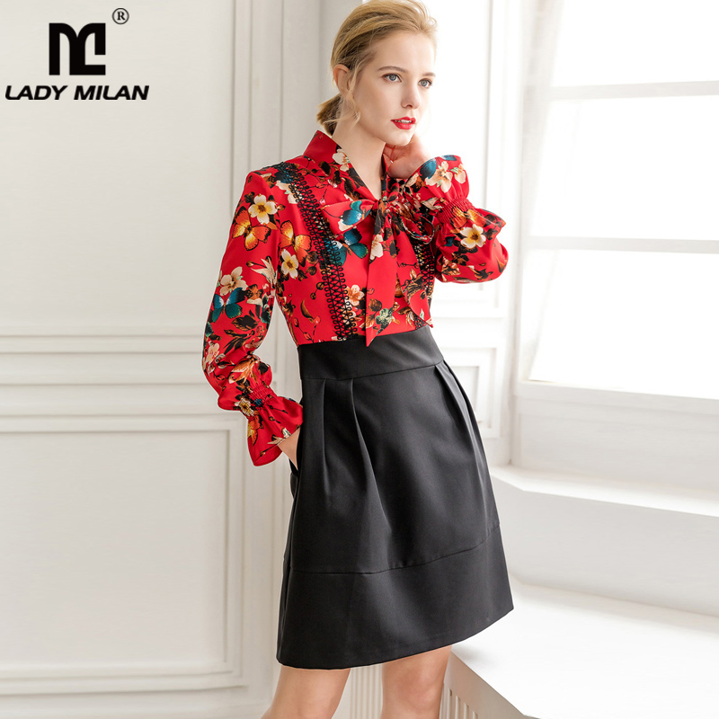 2019 Women s Runway Dresses Bow Collar Long Sleeves Floral Printed Patchwork Fashion Elegant Casual Dresses