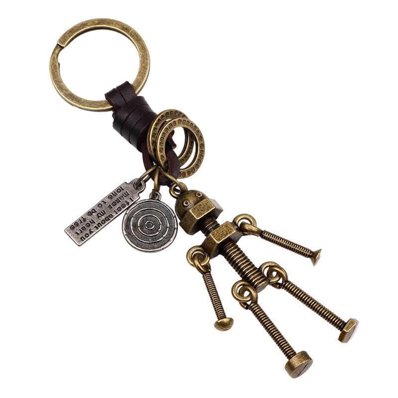UBEAUTY New Fashion Alloy 3d Robot breloczek wisiorek do torebki skórzany na klucze łańcuch breloczek uchwyt pierścieniowy biżuteria dla kobiet mężczyzn