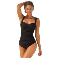 2017 New One Piece Swimsuit Women Plus Size Swimwear Retro Vintage Bathing Suits Beachwear Print Swim