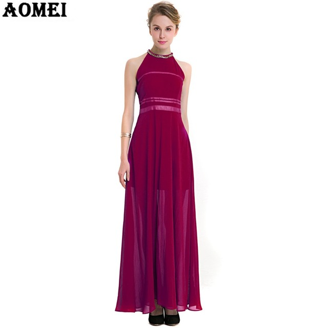 Wine Red Blue Color Women Chiffon Maxi Dress with Sequin Bead Decoration  Pleat Summer Beach-to-bar Dress Gowns Plus size Clothes 768b102b8e