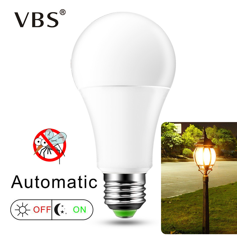 E27 Led Bulb Cold White 220V B22 Dusk To Dawn Light Bulb Auto ON/OFF Smart Sensor Light For Hallway Garden Porch Patio Lighting цена