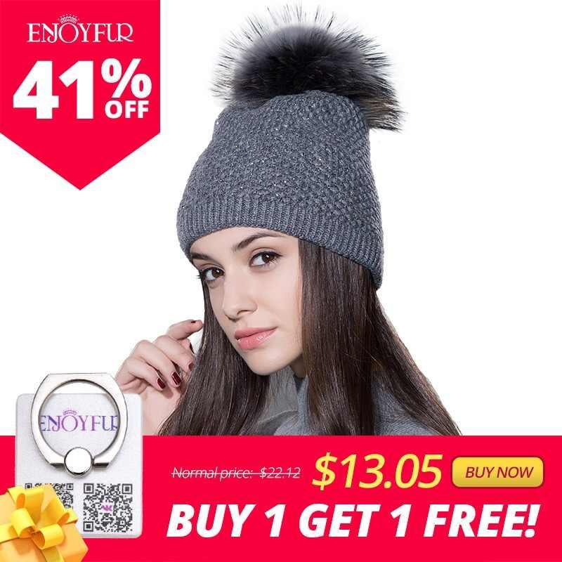 49f640b724d Women fur hat for winter knitted wool beanies cap fluffy fur pom pom hats  brand new